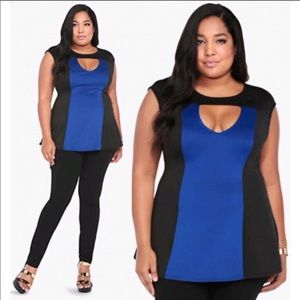 torrid Tops - NWT Torrid Black&Blue Color Block Scuba Top